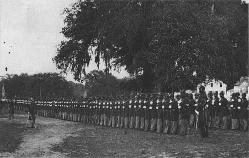 1st South Carolina regiment on review, listening to Lincoln's Emancipation Proclamation Jan. 1, 1863.