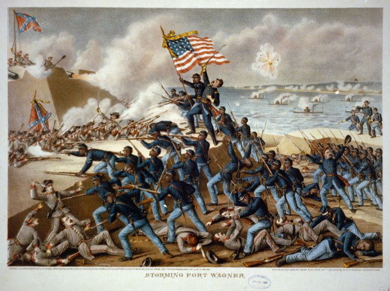 The Storming of Fort Wagner, an 1890 painting showing American soldiers attacking the Confederates at the fort.